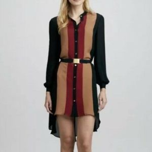 Haute Hippie Silk Color Block Button Down Dress